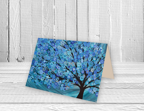 Blue Abstract Tree Greeting Card - Louise Mead