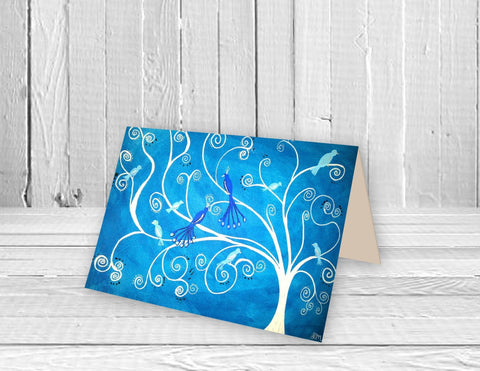 Blue Peacocks Greeting Card - Louise Mead