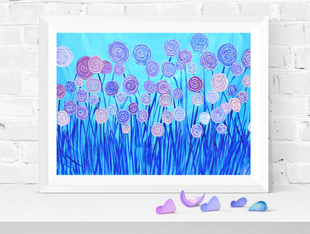Purple & Blue Flowers Wall Art Print - Louise Mead