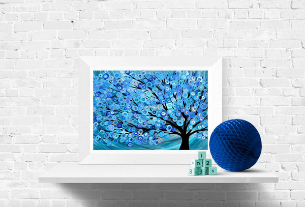 Blue Abstract Tree Wall Art Print by Louise Mead