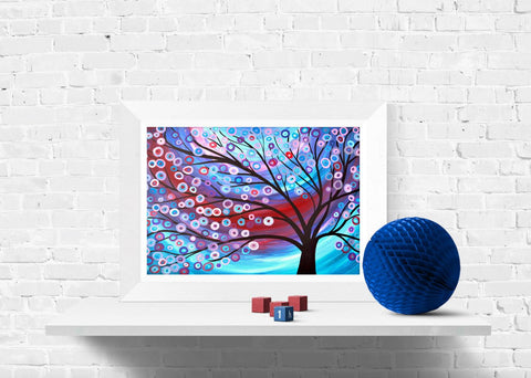 Red & Blue Tree Print - Louise Mead