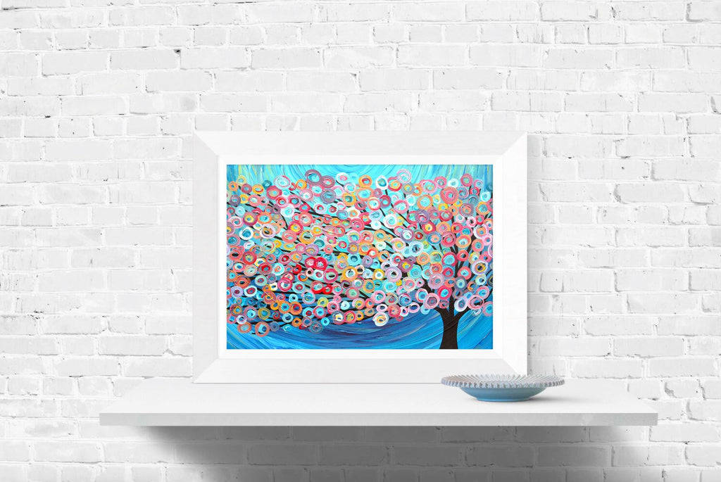 Blue Circus Tree Wall Art Print - Louise Mead