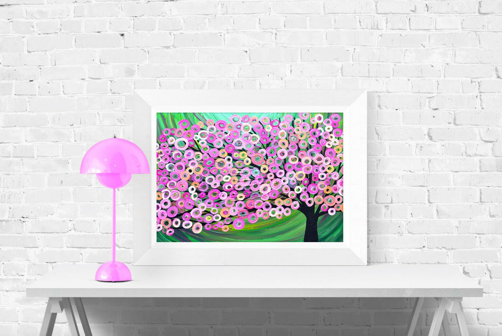 Pink & Green Abstract Tree Wall Art Print by Louise Mead