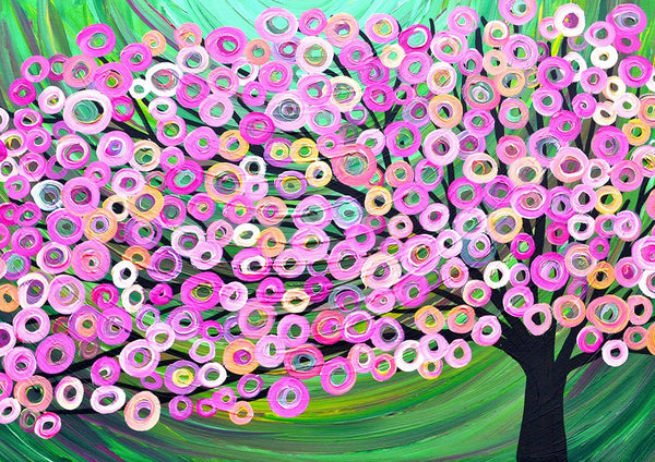 Pink & Green Tree Art Print - Louise Mead