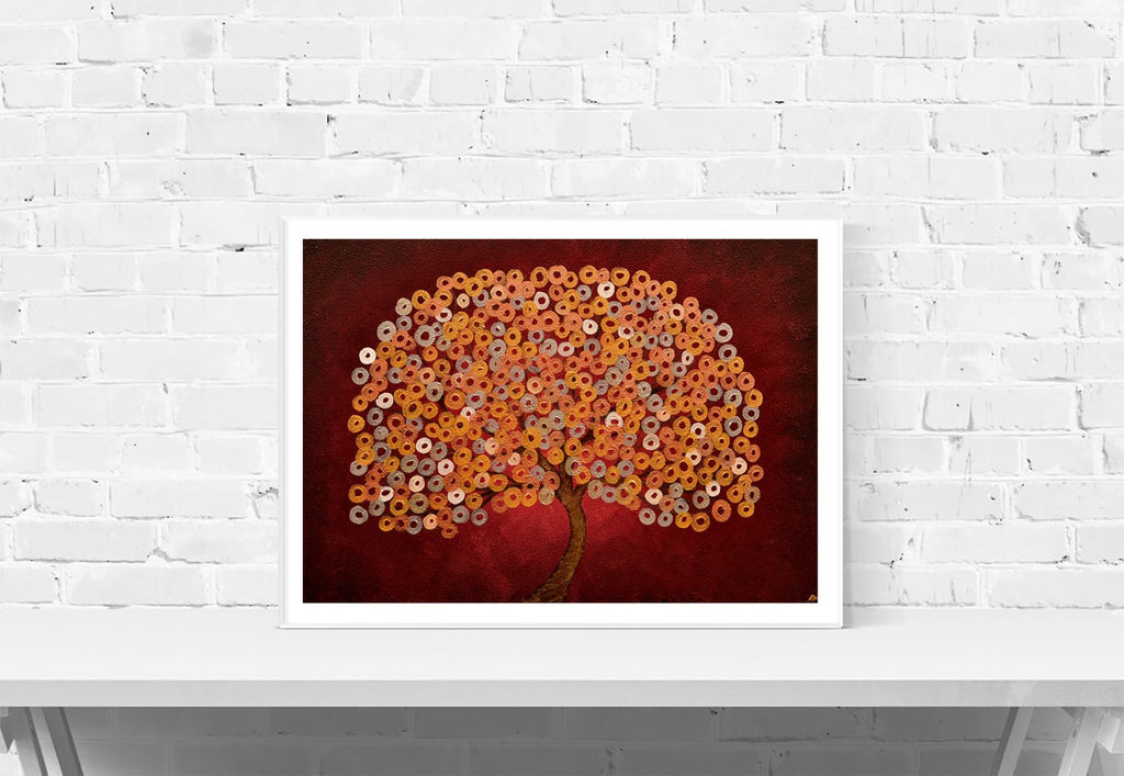 Red Abstract Tree Print - Louise Mead
