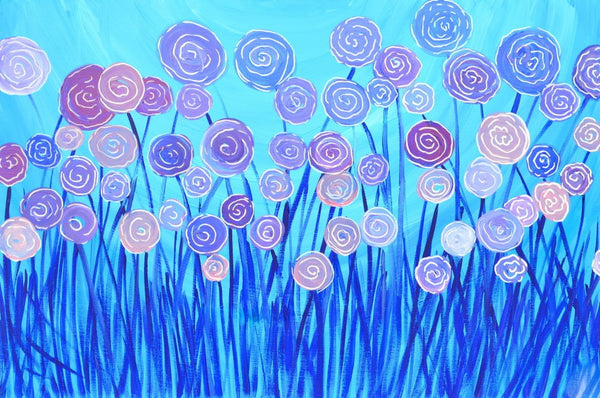 Blue Flowers Greeting Card - Louise Mead