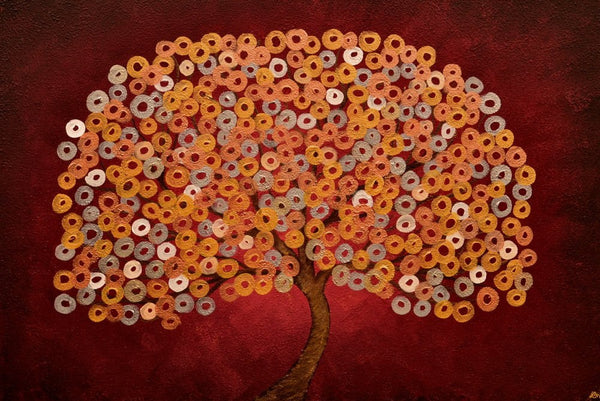 Red Japanese Tree Greeting Card - Louise Mead