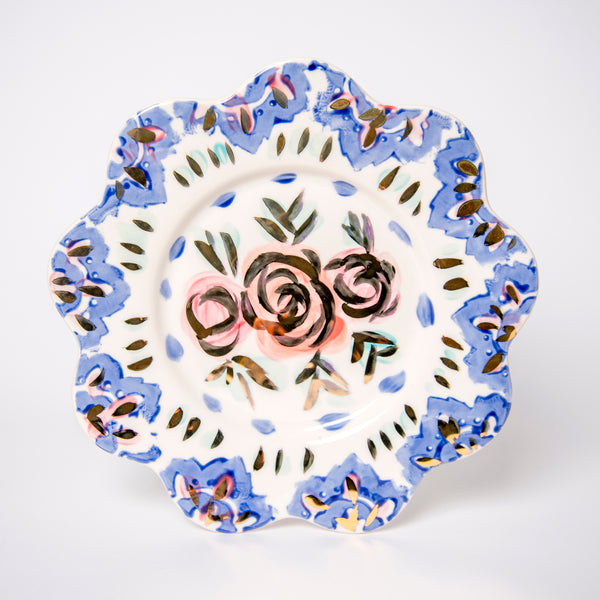 Blue Floral Dining Plate