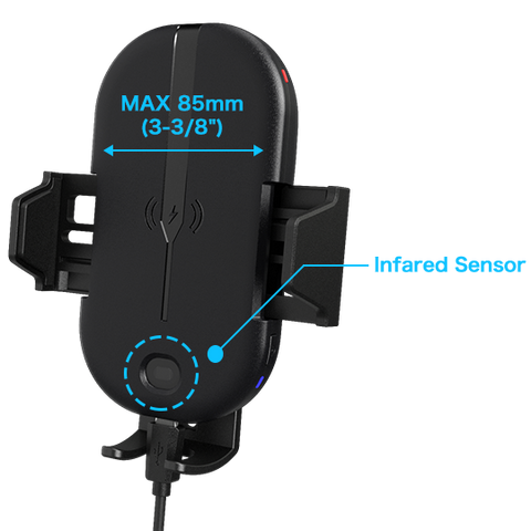"Max 85mm (3-3/8"") width and infrared sensor"