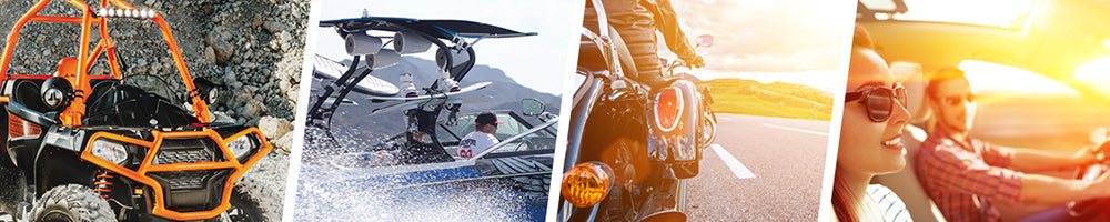 All Products Header - ATV, Boat, Car, and People Driving