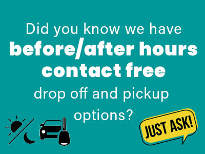 Did you know that we have before/after hours contact free drop off and pickup options?
