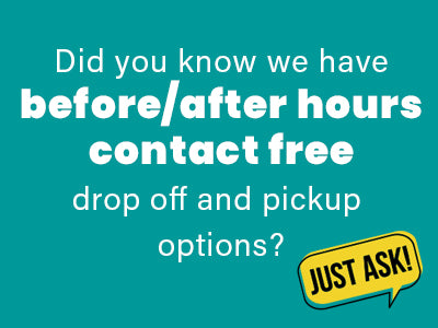 Did you know we have before/after hours contact free drop off and pickup options?