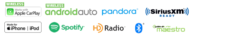 Wireless Apple CarPlay, Wireless Android Auto, Pandora, SiriusXM, iPhone iPod, Spotify, HD Radio, Bluetooth, iDatalink
