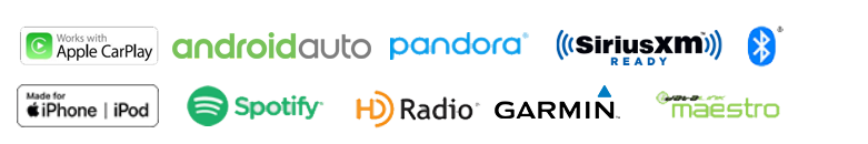 Apple CarPlay, Android Auto, Pandora, SiriusXM, Bluetooth, Made for iPhone, Spotify, HD Radio, Garmin, iDatalink
