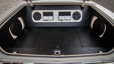 Amps as part of a Freeman's installed system in a Chevy Impala