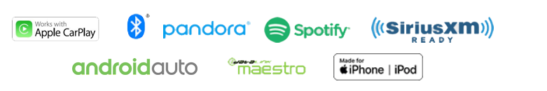 Apple CarPlay Icon, Android Auto, iDatalink Maestro, Iphone/Ipod Icon, Pandora Logo, Spotify Logo, SiriusXM, Bluetooth Logo