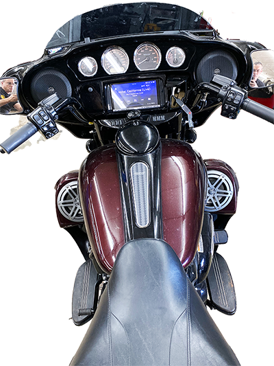 Gastonia motorcycle with Kenwood radio and JL Audio Speakers