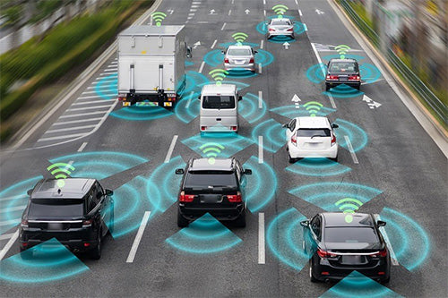 Cars on a highway with wifi symbol on street