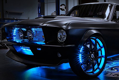 Blue Performance Lighting on Grill and Wheels