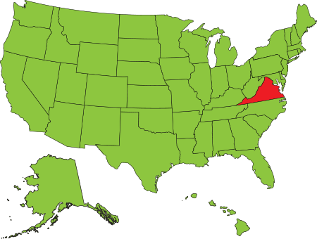 United States Map - Green except for Virginia (red)