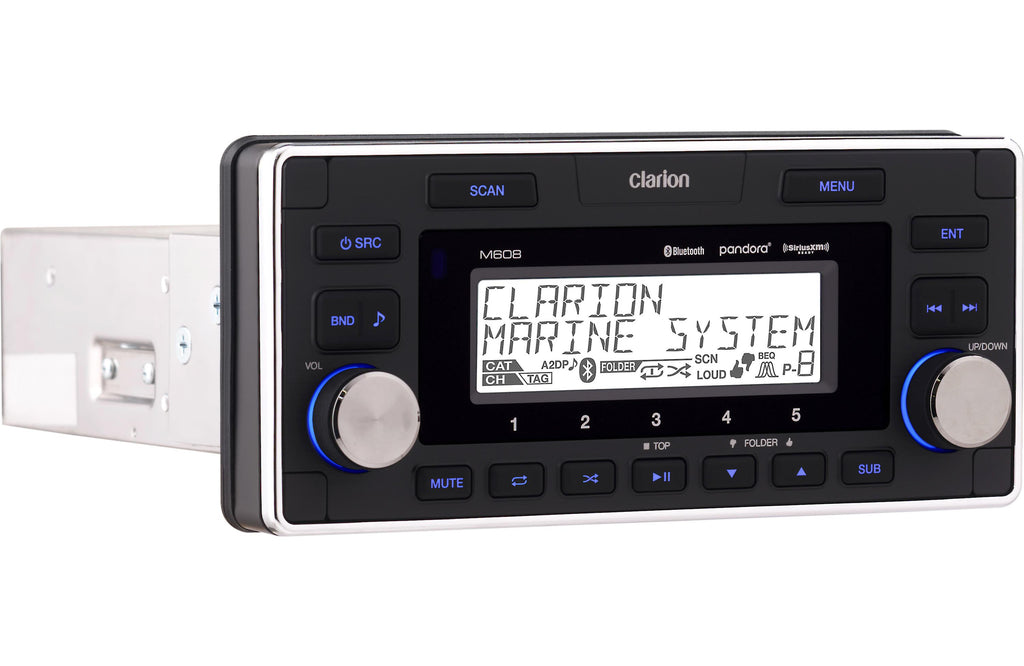 Clarion M608 Marine Digital Media Receiver With Built-In Bluetooth