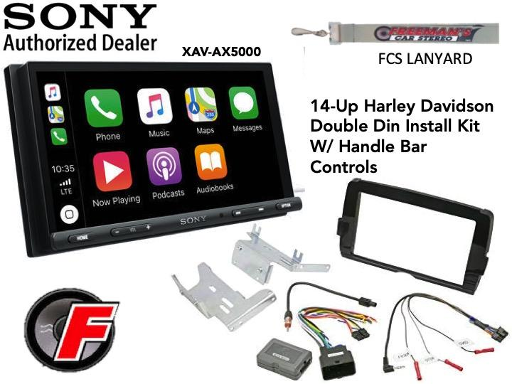 "Sony XAV-AX5000 6.95"" CarPlay/Android Auto Media Receiver with HD14UDDBN Harley DDin Kit - Freeman's Car Stereo"