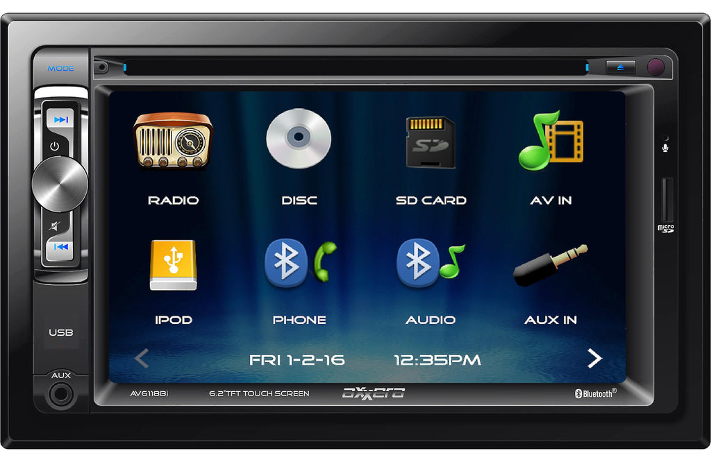 "Axxera AV6118Bi 6.2"" DVD Touchscreen Receiver with Bluetooth - Freeman's Car Stereo"