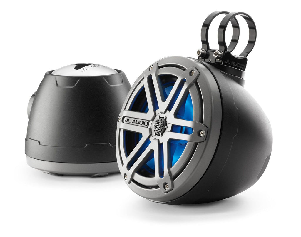 "6.5"" Marine Powersports Tower Enclosed Coaxial Speaker System w/ Titanium Black Sports Grilles - Freeman's Car Stereo"