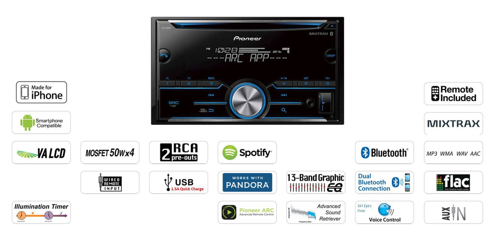 Pioneer FH-S500BT - Double-DIN In-Dash CD Receiver with Bluetooth - Freeman's Car Stereo