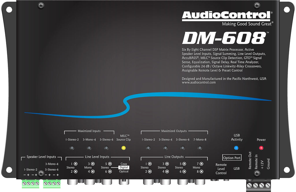 AudioControl DM-608 Digital Signal Processor (DSP) 6 input channels, 8 outputs - Freeman's Car Stereo