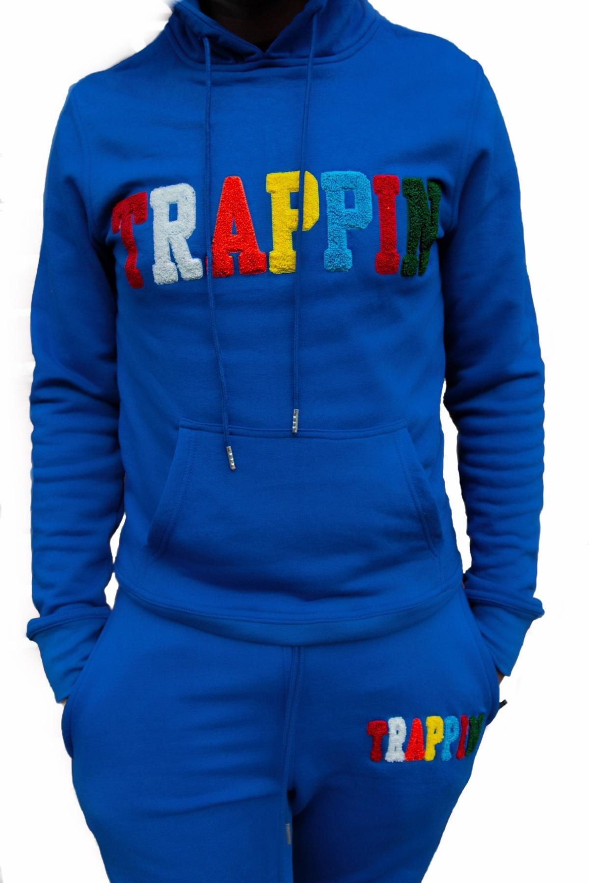 Chenille Patch Trappin SweatSuit Royal
