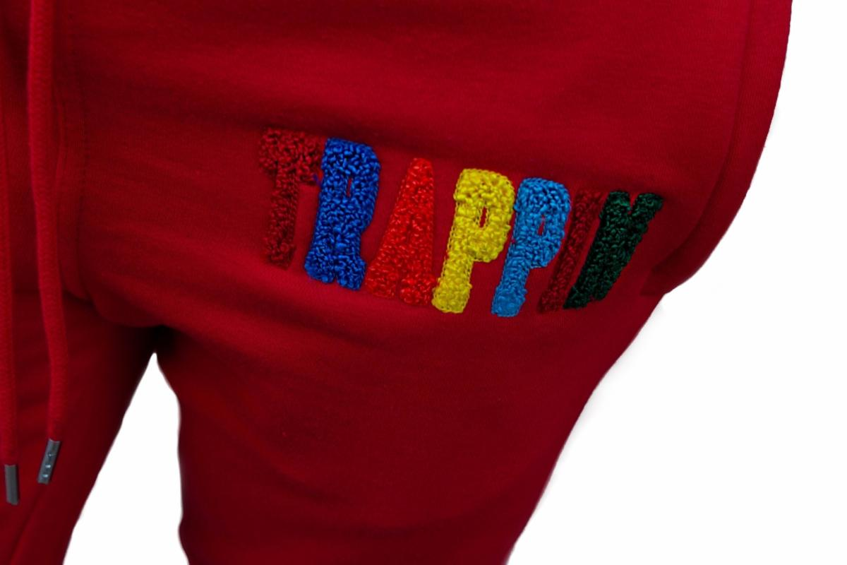 Chenille Patch Trappin SweatSuit Red