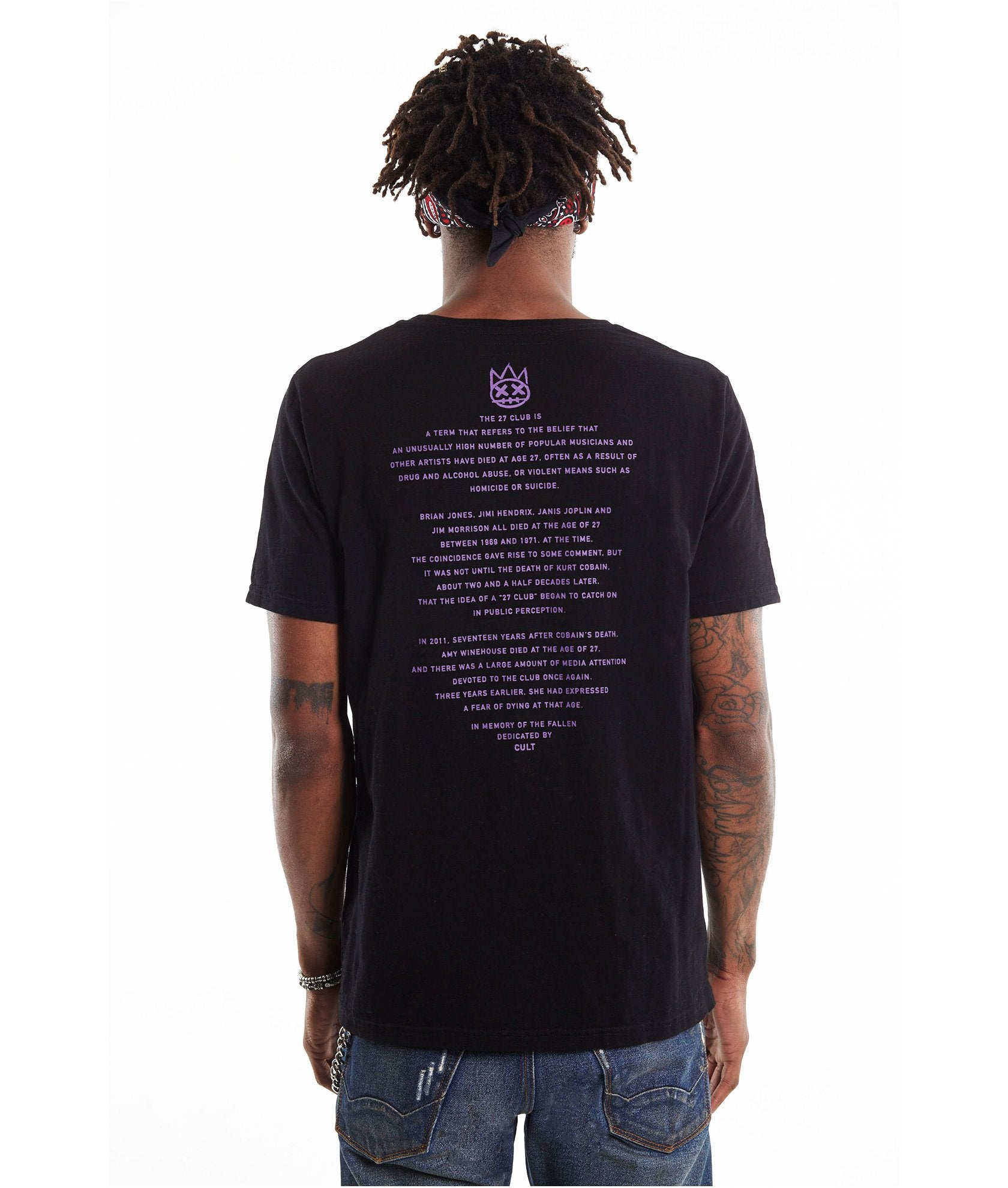 Men's Embroidered Purple Haze Black Crew Neck T Shirt
