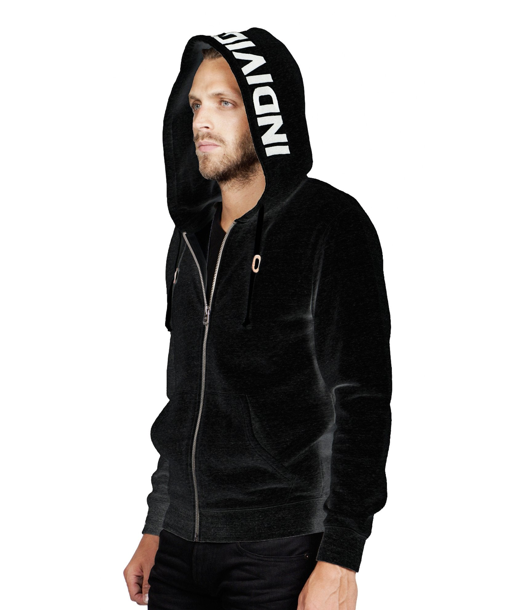 "Men's Embroidery ""INDIVIDUALITY"" on the Hood Sweatshirt in Black"