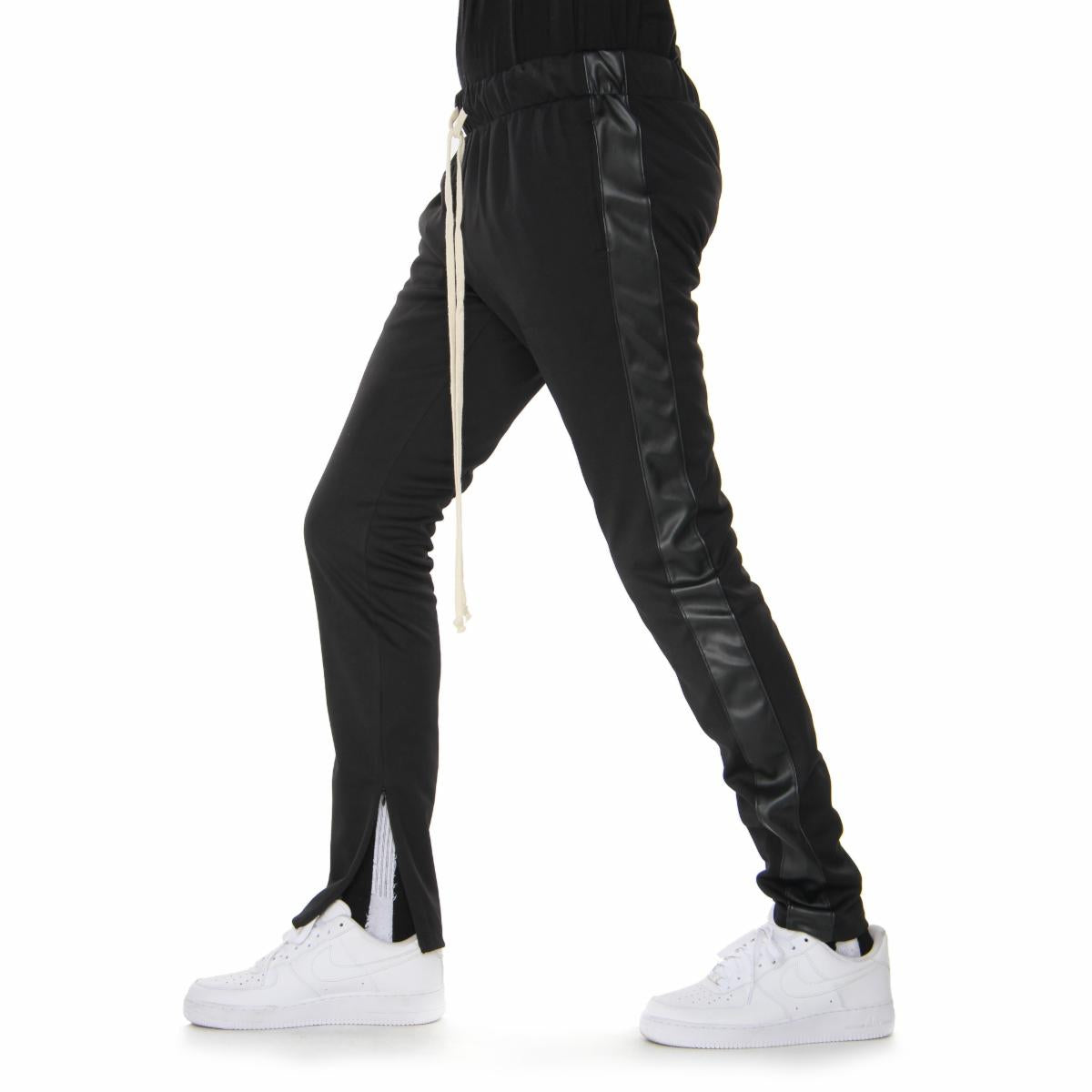 Track Pants - Black/Black Vegan Leather