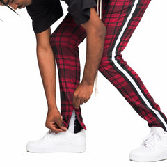 Taped Plaid Track Pants