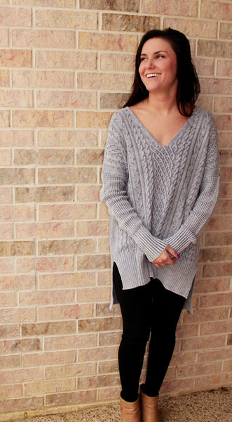 Dusty Blue Cable Knit Sweater