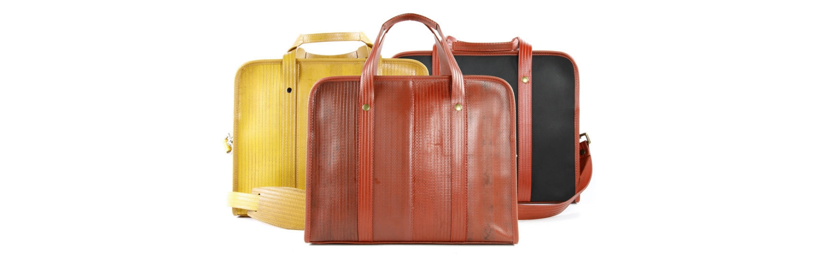 Eco-friendly recycled briefcases - upcyced fire-hose and printing blanket - Elvis & Kresse