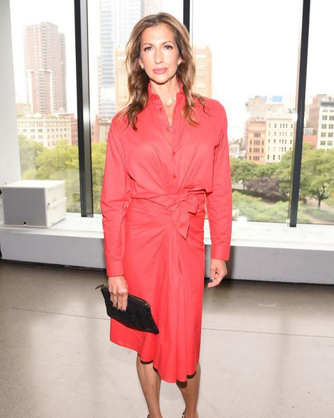 Alysia Reiner with the Elvis & Kresse x Livari Clutch during NYFW