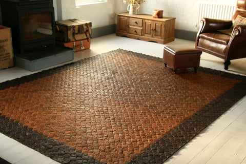 Custom reclaimed leather rug - Elvis & Kresse
