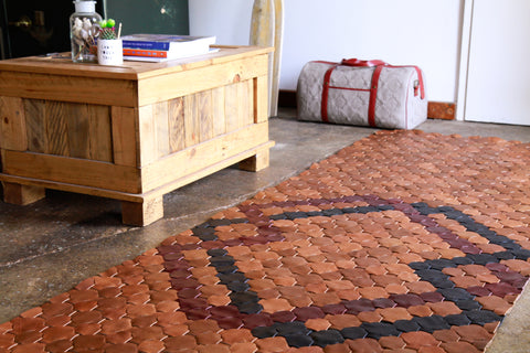 Customised, bespoke, rescued leather rug - Elvis & Kresse