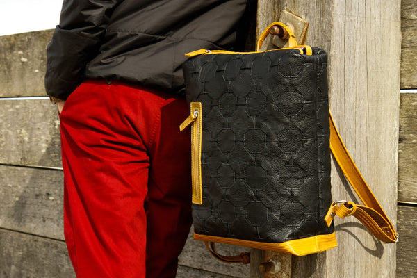 Elvis & Kresse Backpack in Black and Yellow