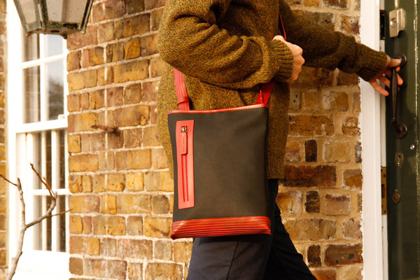 The Elvis & Kresse Reporter Bag, made from reclaimed printing blanket and fire-hose