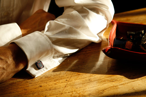 Torpedo Cufflinks - reclaimed leather and decommissioned fire-hose
