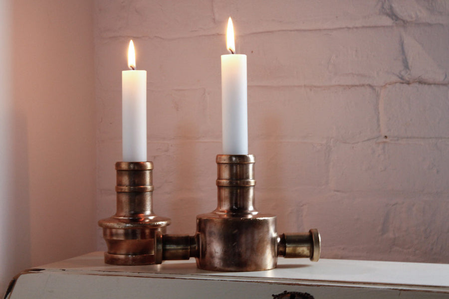 Elvis & Kresse solid brass candlestick holders