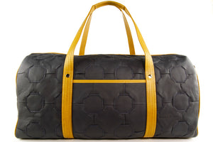 Black and Yellow Leather Duffel Bag - Elvis & Kresse