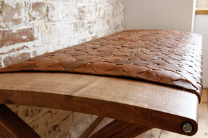 Beam Bench in Walnut and Caramel - Elvis & Kresse and Katie Walker