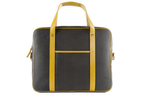 Elvis & Kresse Soft Briefcase, Black and Yellow