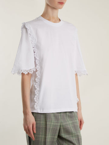 MSGM Macramé lace-trimmed cotton T-shirt £215