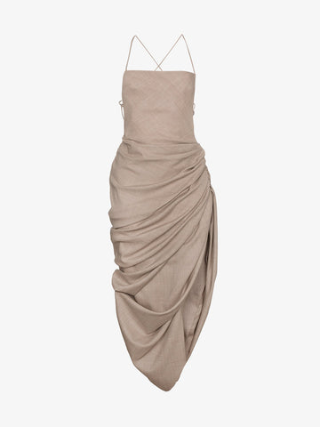 Jacquemus Dress With Draped Hem And Strappy Back